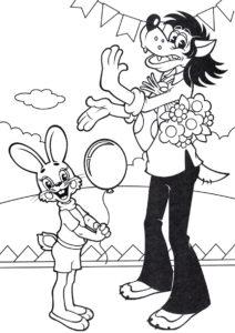 Разукрашка Волк и заяц на празднике распечатать на А4 и скачать - Ну, погоди!