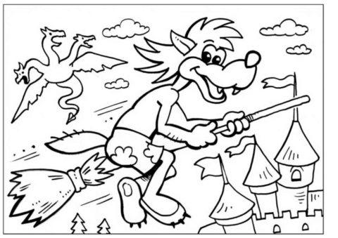Раскраска Волк летит на метле распечатать на А4 - Ну, погоди!