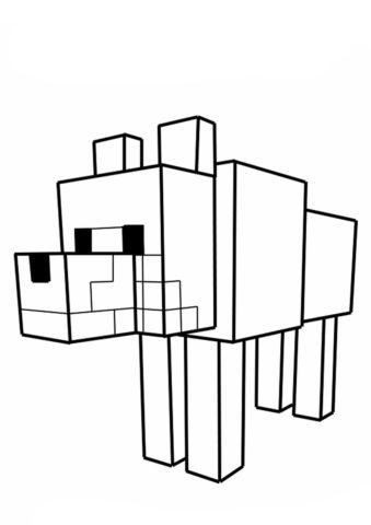 Волк Minecraft - Майнкрафт раскраска распечатать на А4