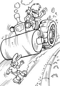 Волк на катке гонится за зайцем-скейтбордистом (Ну, погоди!) разукрашка для печати на А4