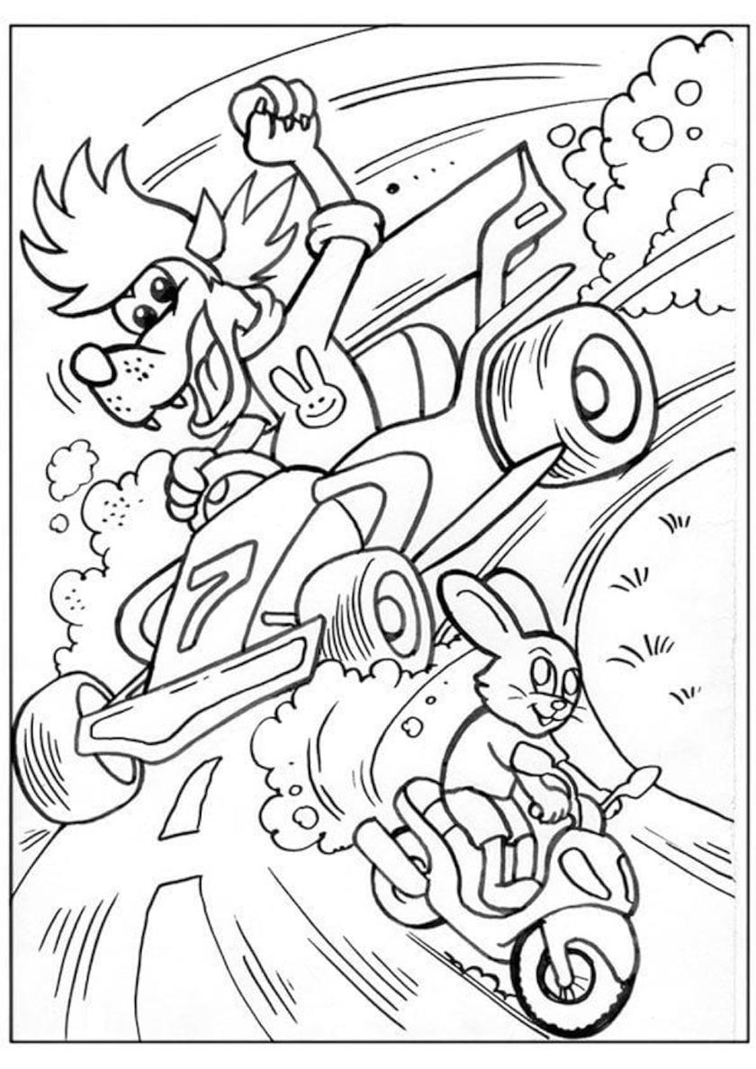 Раскраска Волк на спорткаре догоняет мотоцикл зайца ...