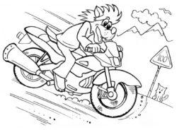 Волк несётся на мотоцикле на огромной скорости - Ну, погоди! бесплатная раскраска