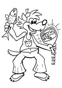 Волк с воблой и кинескопом (Ну, погоди!) бесплатная раскраска