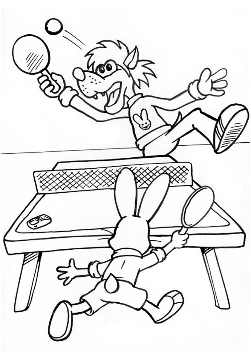 Раскраска Волк с зайцем играют в настольный теннис ...
