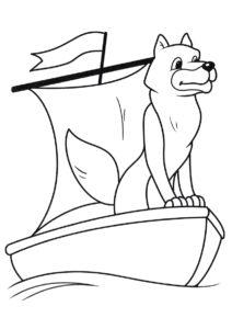 Волк в лодке раскраска распечатать бесплатно на А4 - Волки