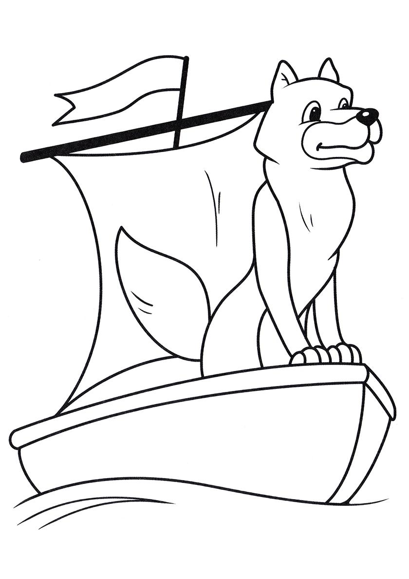Раскраска Волк в лодке распечатать | Волки