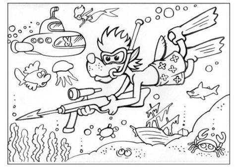 Ну, погоди! распечатать раскраску на А4 - Волк во время подводной охоты