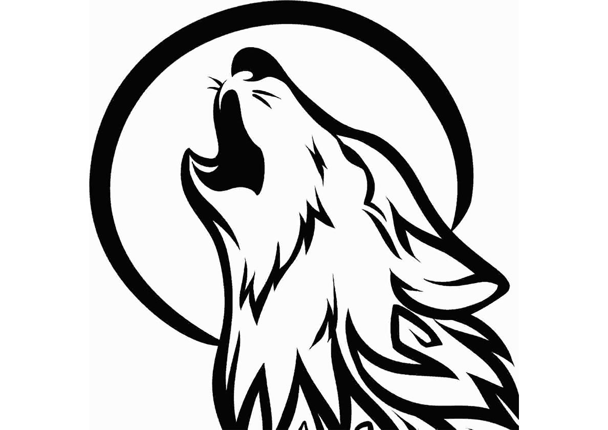 Раскраска Волк воет на луну распечатать | Волки