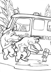 Волки не хотят лечиться (Маша и Медведь) разукрашка для печати на А4