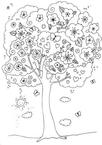 Раскраска Волшебное дерево распечатать | Весна