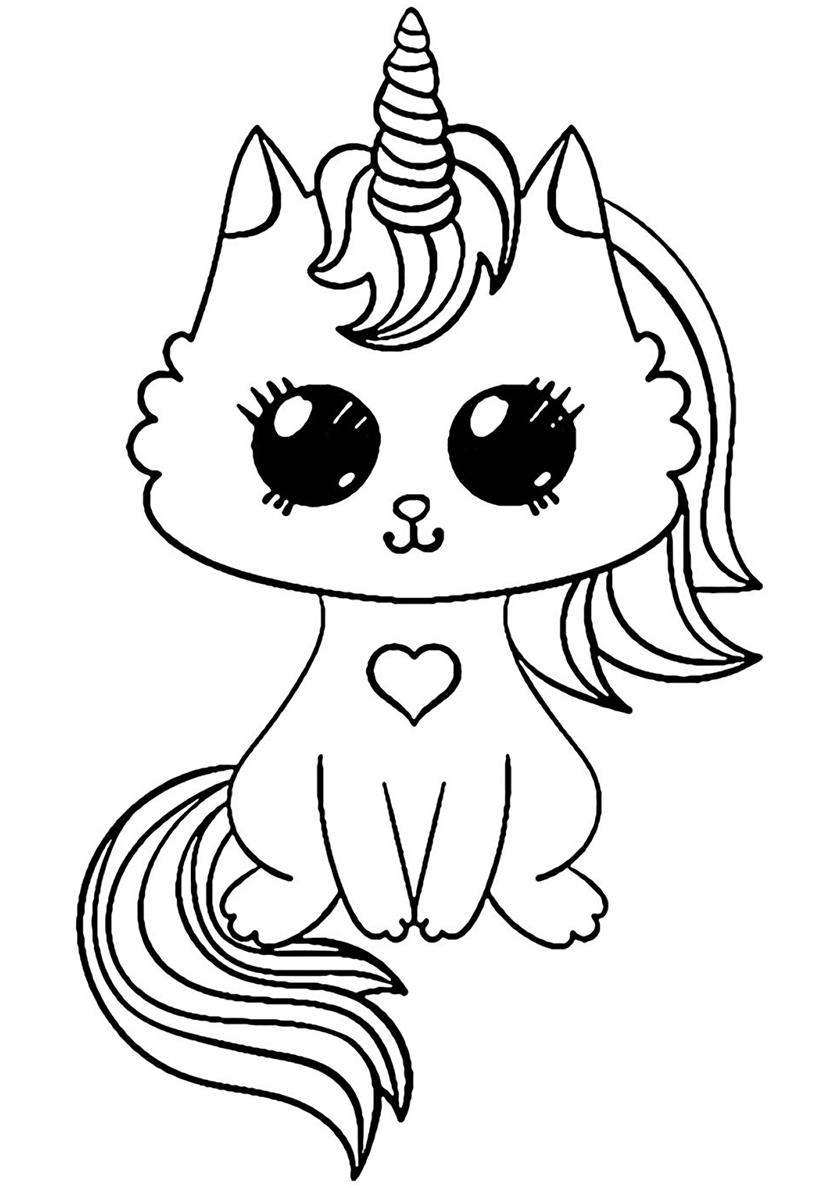 Раскраска Волшебный котенок распечатать | Единороги