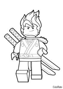 LEGO Ниндзяго распечатать раскраску - Воодушевленный Кай