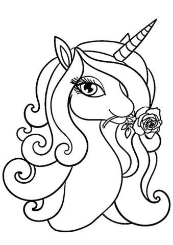 Восхитительная роза бесплатная раскраска - Единороги