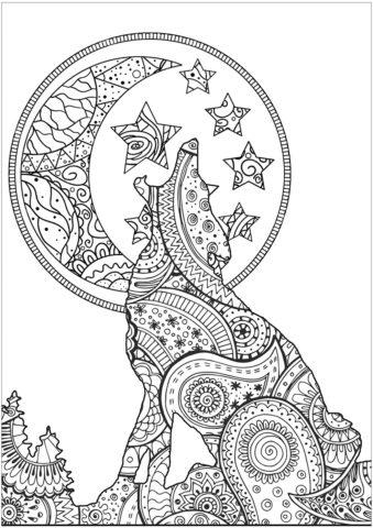 Воющий на луну волк в узорах - Волки раскраска распечатать на А4