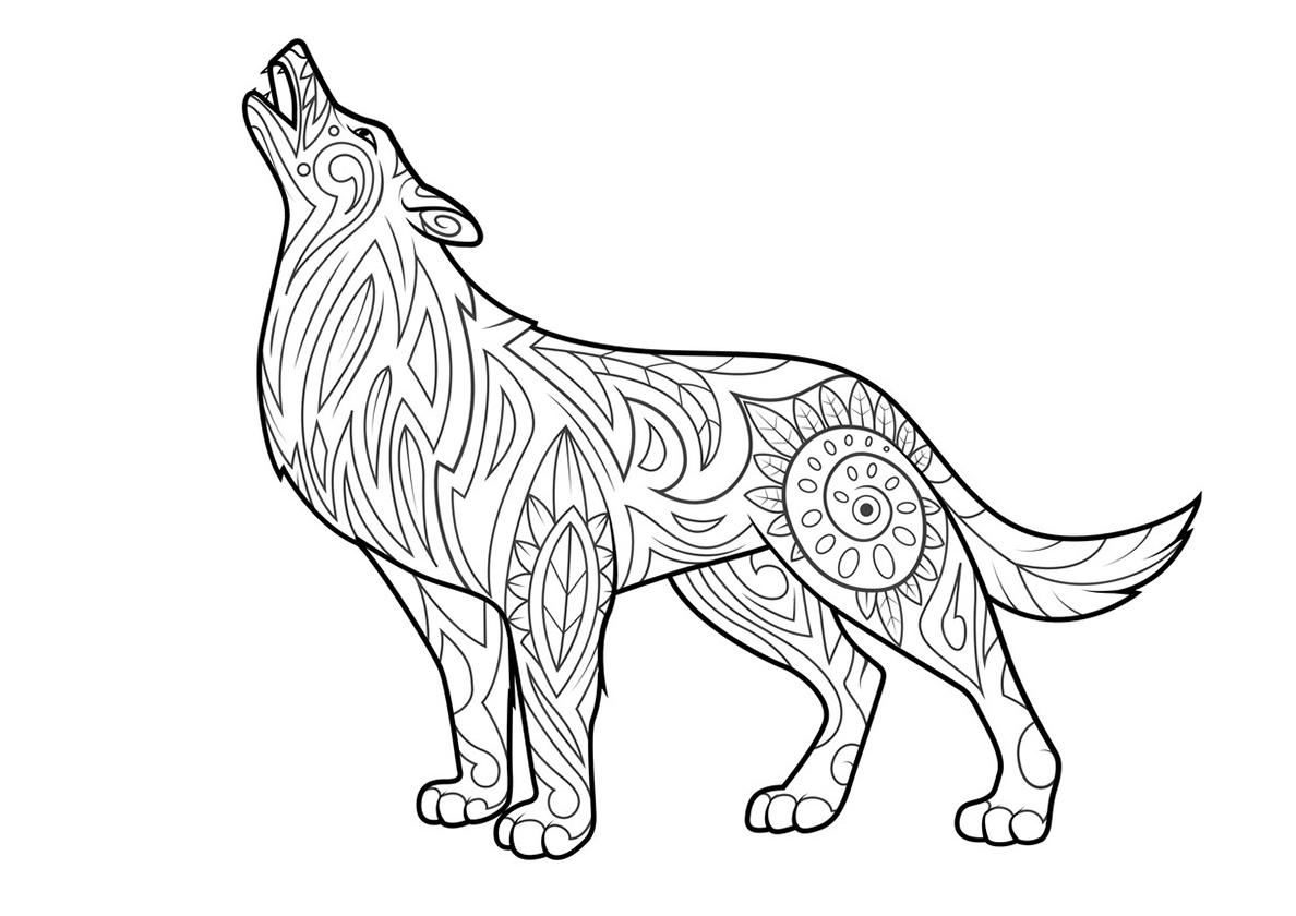 Раскраска Воющий волк в узорах распечатать | Волки