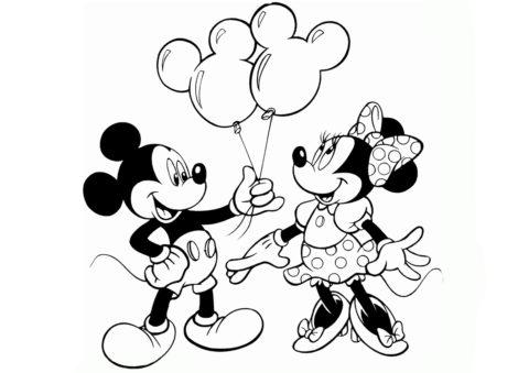 Воздушные шарики в подарок раскраска распечатать и скачать - Микки Маус