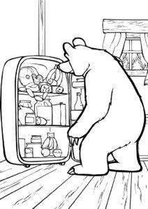 Маша и Медведь бесплатная раскраска распечатать на А4 - Время перекусить