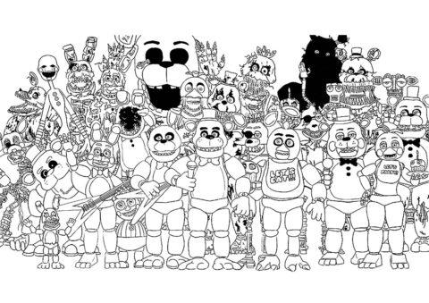 Все аниматроники FNAF бесплатная раскраска - ФНАФ и Аниматроники