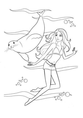 Встреча с морским котиком (Барби) раскраска для печати и загрузки
