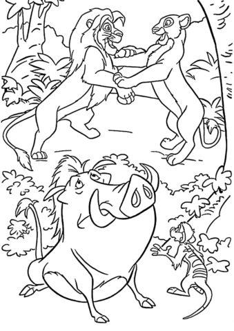 Король Лев распечатать раскраску - Встреча Симбы и Налы