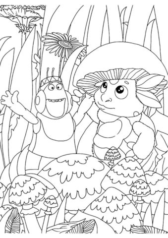 Вупсень и Лунтик у грибницы распечатать и скачать раскраску - Лунтик