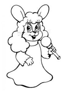 Раскраска Выступление Зайца в парике - Ну, погоди!