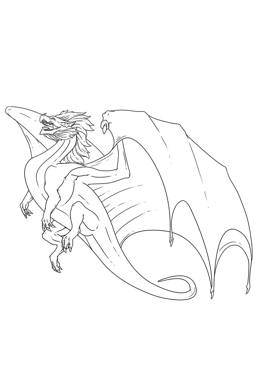 Раскраска Взлетающий дракон распечатать | Драконы