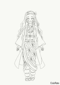 Взрослая Незуко распечатать разукрашку бесплатно - Раскраски из аниме «Клинок, рассекающий демонов»
