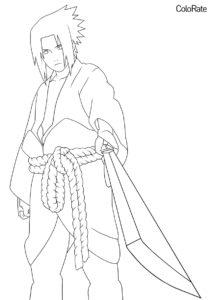 Взрослый Саске (Наруто) бесплатная раскраска на печать