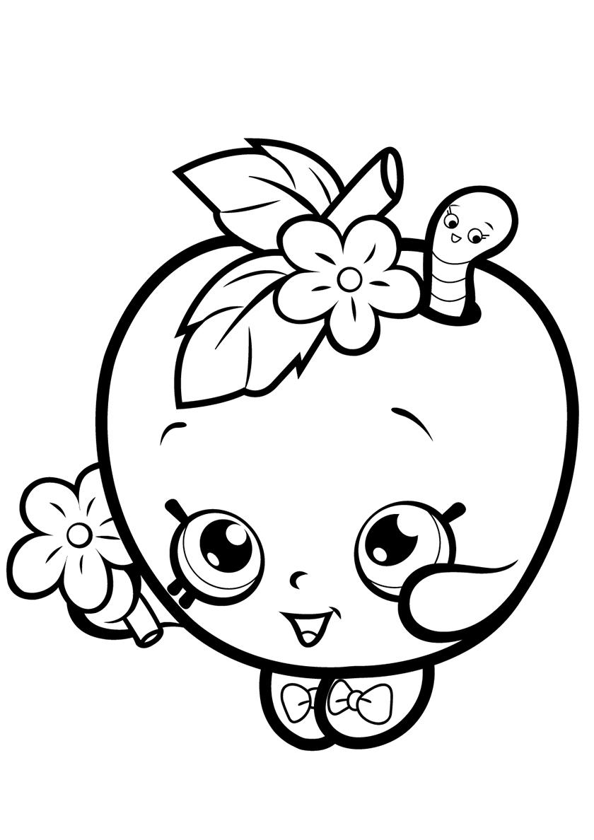 Раскраска Веселое яблочко с цветком распечатать | Шопкинс