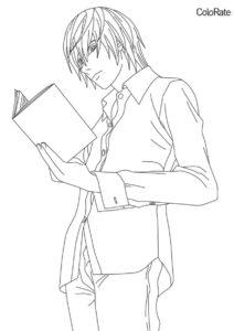 Ягами держит обычную тетрадь раскраска распечатать бесплатно на А4 - Тетрадь смерти