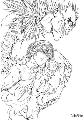 Ягами Лайт и Рюк раскраска распечатать на А4 - Тетрадь смерти