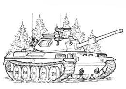 Танки бесплатная раскраска распечатать на А4 - Японский танк ТИП-74