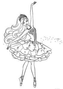 Яркая балерина Барби (Балерина) распечатать раскраску