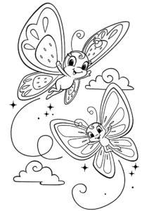 Бабочки бесплатная раскраска распечатать на А4 - Яркие подружки