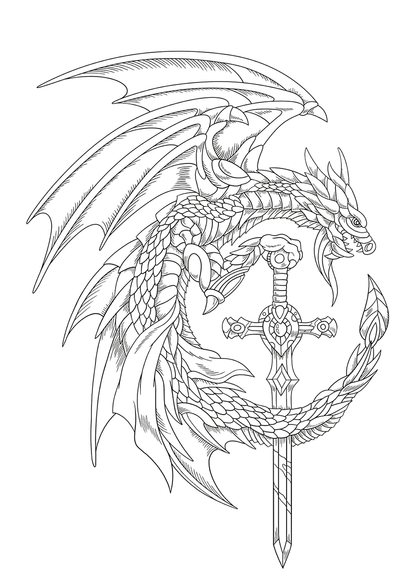 Раскраска Яростный дракон с мечом распечатать | Драконы