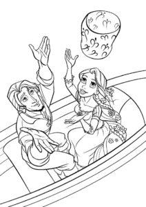 Юджин и принцесса с фонариком - Рапунцель бесплатная раскраска