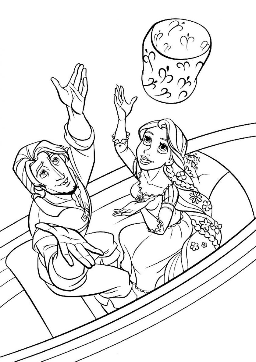 Раскраска Юджин и принцесса с фонариком распечатать ...