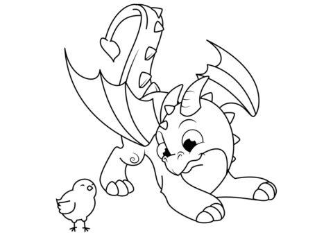 Распечатать раскраску Юный дракон и цыпленок - Драконы