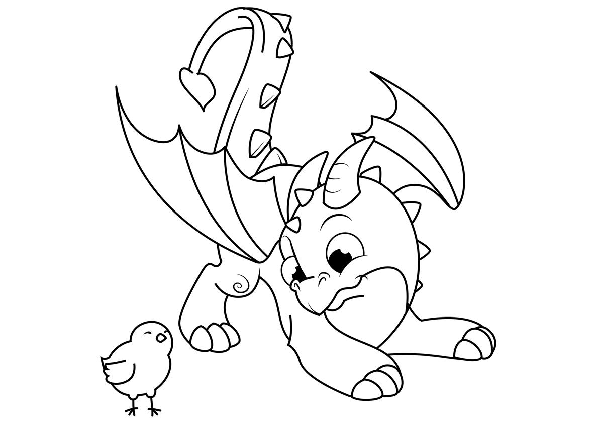 Раскраска Юный дракон и цыпленок распечатать | Драконы