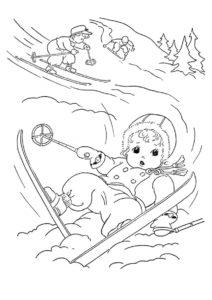Раскраска Забавное падение на лыжах - Зима