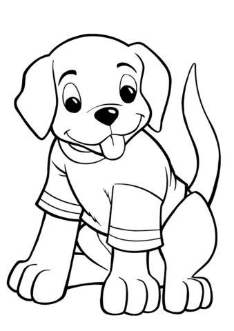 Забавный щенок в футболке (Собаки и щенки) распечатать бесплатную раскраску