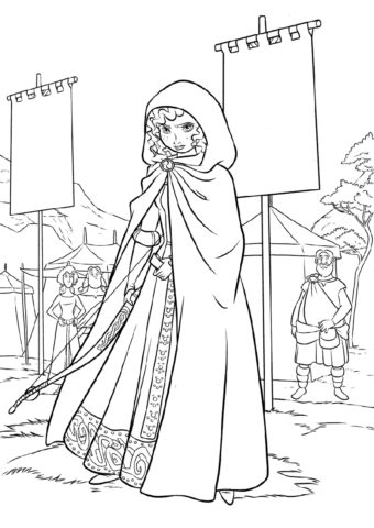 Задумчивая девушка (Мерида) бесплатная раскраска