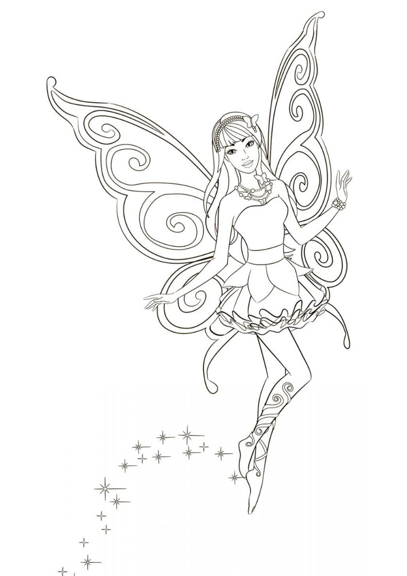 Раскраска Загадочная фея распечатать | Барби