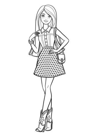 Разукрашка Загадочная незнакомка распечатать и скачать - Барби