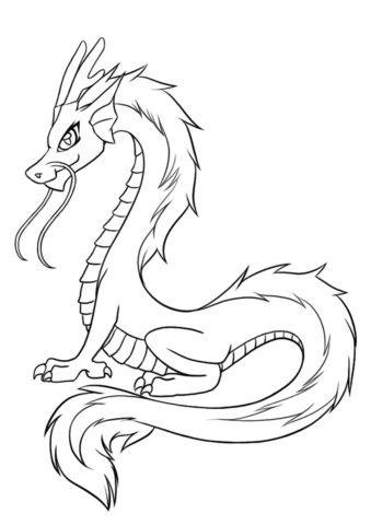 Драконы бесплатная разукрашка - Загадочный китайский дракон