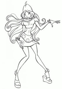 Зажигательный танец (Флора) раскраска для печати и загрузки
