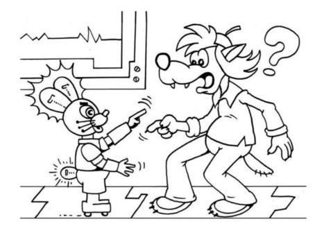 Заяц-робот наступает на волка раскраска распечатать бесплатно на А4 - Ну, погоди!