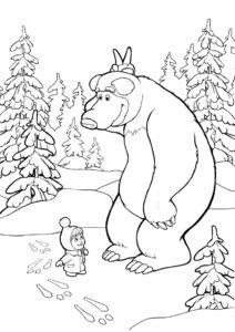 Раскраска Заячьи следы распечатать на А4 - Маша и Медведь