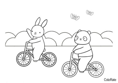 Велосипеды бесплатная разукрашка - Зайчик и мишка на велопрогулке